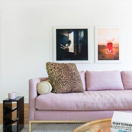 Modern Living Room with Sofa in Pastel Linen with Leopard, Brass and Marble