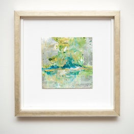 'Green Metallic Landscape'  10 x 10 mixed media on leatherette  linen mat in champagne frame