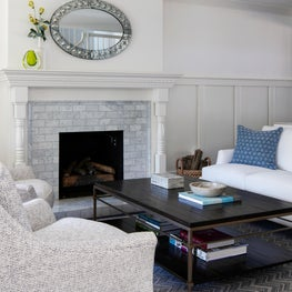 Living Room with Tile Fireplace and Mirror in a North San Mateo Residence