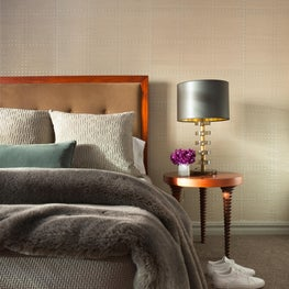 Lux Master Bedroom, Accent Textured Wallpaper, Vintage Lighting, Black Lampshade
