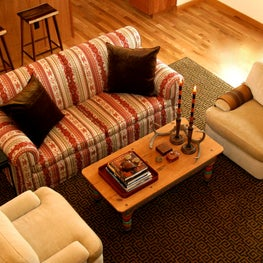 NW hills, Portland, OR:  Great room with custom furniture and Stark area rug.