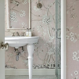 Pink Guest Bath with Marble Mosaic Floor and Mural Wallcovering