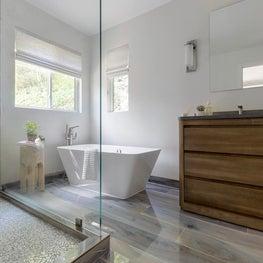 Serene and Stylish bathroom with glass mosaic tile