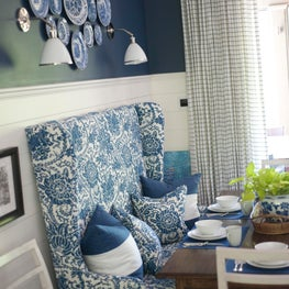 The client's blue and white plate collections added dramatic impact.
