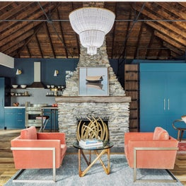 OPEN LIVING WITH STONE FIREPLACE, WOOD CEILING, RECLAIMED WOOD, SATURATED COLOR