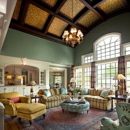 Coffered Ceiling w/ Metal Inserts in Gathering Room by Diane Burgoyne Interiors
