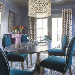 Silver Leaf Ceiling, Mohair Dining Chairs in Formal-ish Dining Room