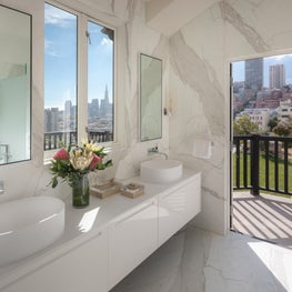 DZINE - Modern Boffi bath design with a view of San Francisco