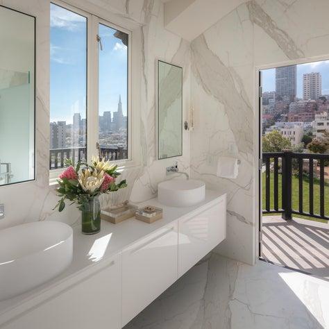 DZINE - Modern Boffi bath design with a view of San Francisco