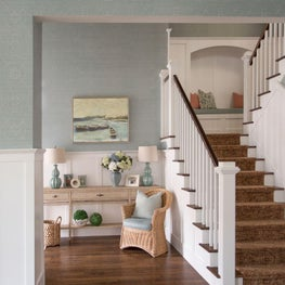 Transitional staircase with craftsman details