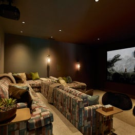 Home theater with a modern edge in home in Atherton