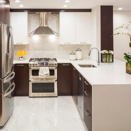 Park Slope Brownstone, two tone kitchen with water fall island