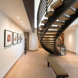Snowmass Village, Aspen Two Creeks Remodel- Foyer, Stairs, Art, Steel, Oak