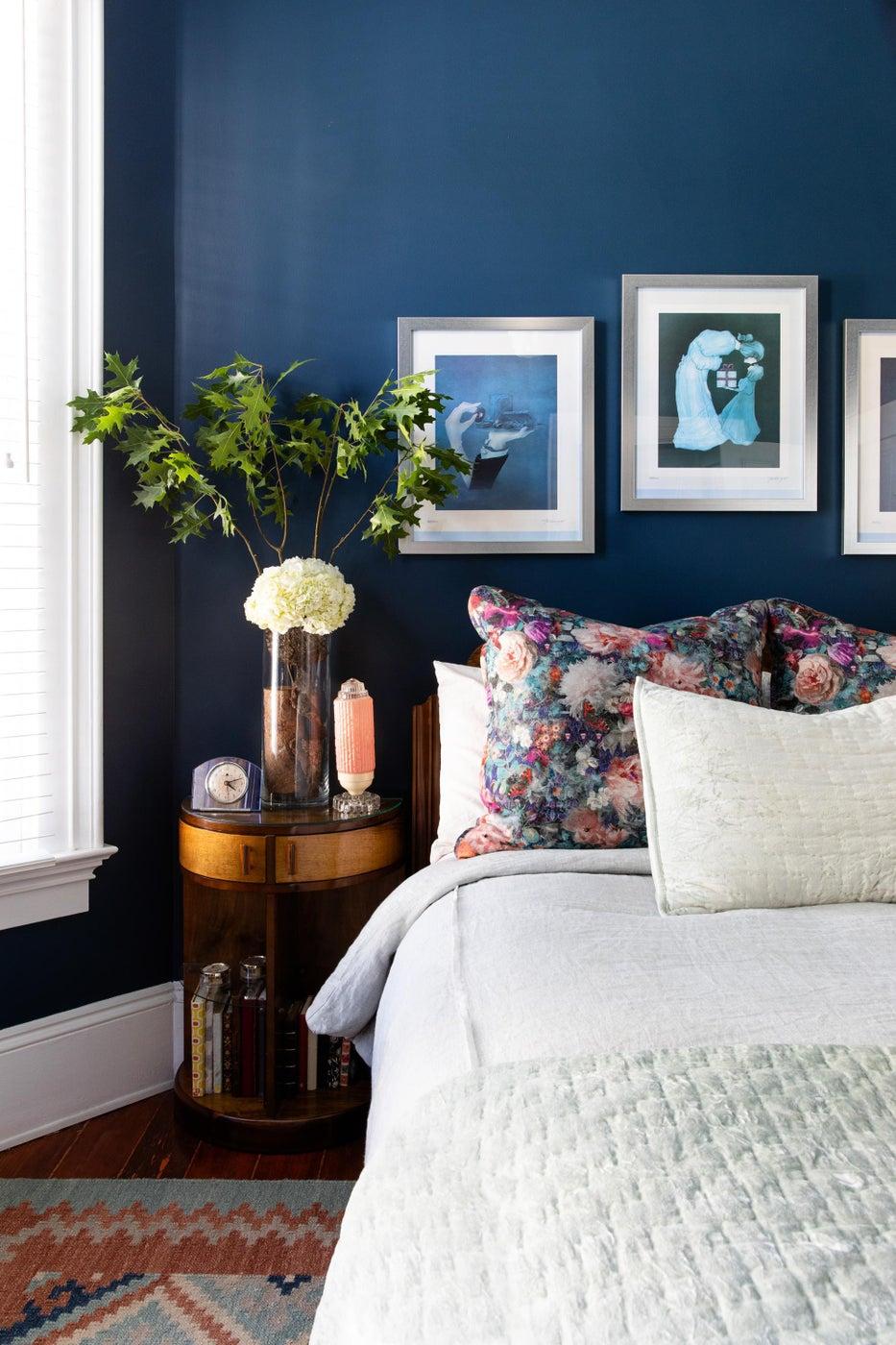 Art Deco Guest Bedroom That's Not Afraid of the Dark