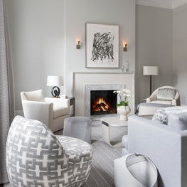 Shades of Gray in Boston Home, Dmitriy Calonia Swivel, Jean DeMerry Sconces