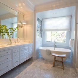 Ethereal Master Bathroom with WaterJet Mosaic Marble Floor