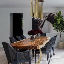 Modern organic dining room with custom live edge table