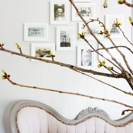 Updated Classic - Blush Pink Tufted Settee + White Gallery Wall