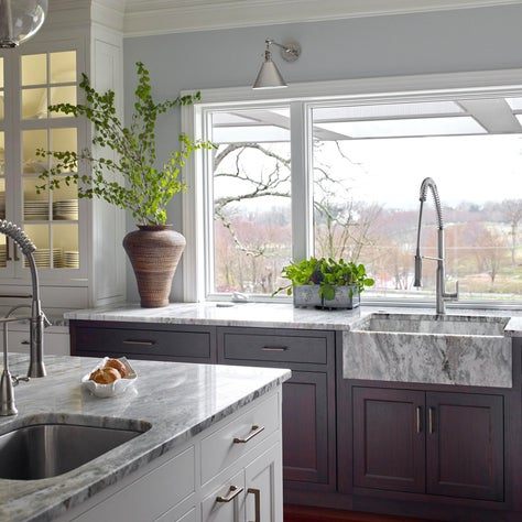 Contemporary Farmhouse Kitchen with Natural Stone Slab SInk