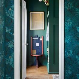Colorful Entryway Hallway with Dramatic Foliage Wallpaper