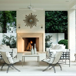 At Home patio with outdoor fireplace