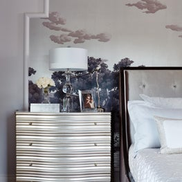 Master bedroom - hand painted mural as a focal point