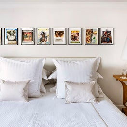 Eclectic Bedroom with Modern Artwork