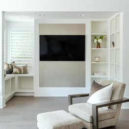 Reading Nook Detail Shot with Custom Built-In shelves and Storage Bench Seating