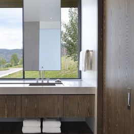 Suspended Mirror Highlights sink without completing with the Mountain View.