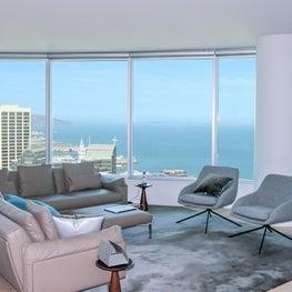 San Francisco Infinity Towers modern remodel. Living room.