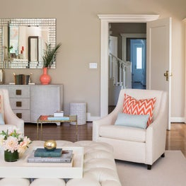 Serene Living Room with Neutral Furniture and Pops of Color