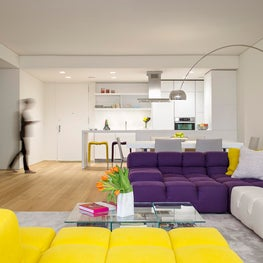 """A Pop of Color"" - UES Apartment, Living Room to Kitchen"