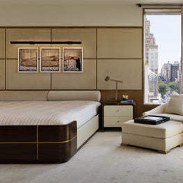 Neutral Penthouse Master Bedroom with Custom Oversized Bed