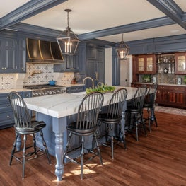 Blue Kitchen Cabinetry in Traditional Home