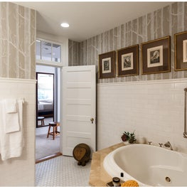Bathroom w/ Cole & Sons woods wallpaper- design by Sophia Shibles