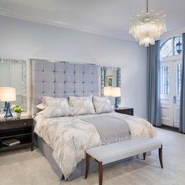 Boston Bedroom with Nancy Corzine furniture, Frette linens  , Villaverde light