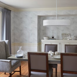 Glencoe formal dining room, wing armchairs, blue wool drapes, floral wallpaper