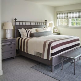 Taupe, brown & ivory camp blanket on gray bamboo guest bed, Elkins-esque lamps