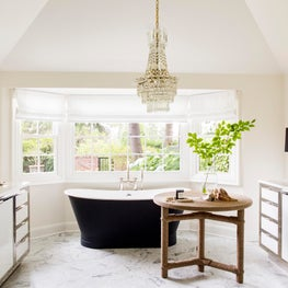 Seattle. Master Bath with Afriba side table by Christian Astuguevielle.