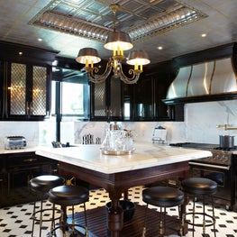 The Plaza Penthouse Kitchen, Aluminum Leaf Ceiling and Faux Marble Outlet Covers