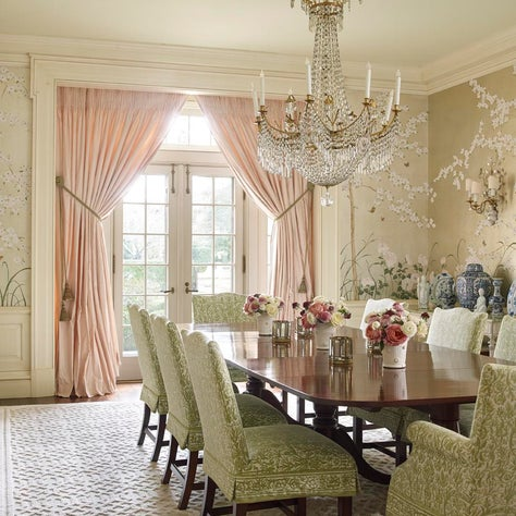 Dining Room with Custom Mural Painted Walls and Fortuny Fabric