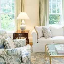 New Canaan, Ct Formal Living Room, White Sofa with Decorative Tape, Decorative Throw Pillows with Brush Fringe, Modern Oriental in Aqua and Cream from Stark Carpet