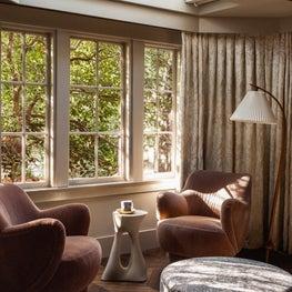 Hillsborough Craftsman Estate, Master Sitting with vintage Vladimir Kagan chairs