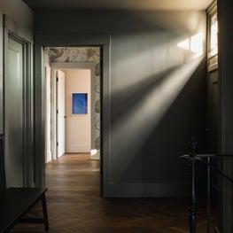Hillsborough Craftsman Estate, Hallway with vintage Venini glass chandelier