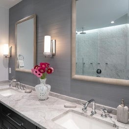 Urban Master Bathroom Vanity Wall with Simple Details