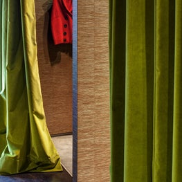 Olive Velvet Drapery at Changing Rooms of this Fashion Boutique