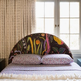 Hillsborough Craftsman Estate, Girl's Bedroom with Josef Frank fabric custom bed