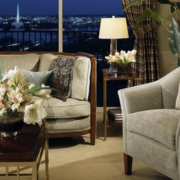 This living room captures Old Hollywood's glamour and the spectacular view plays prominently in the design.