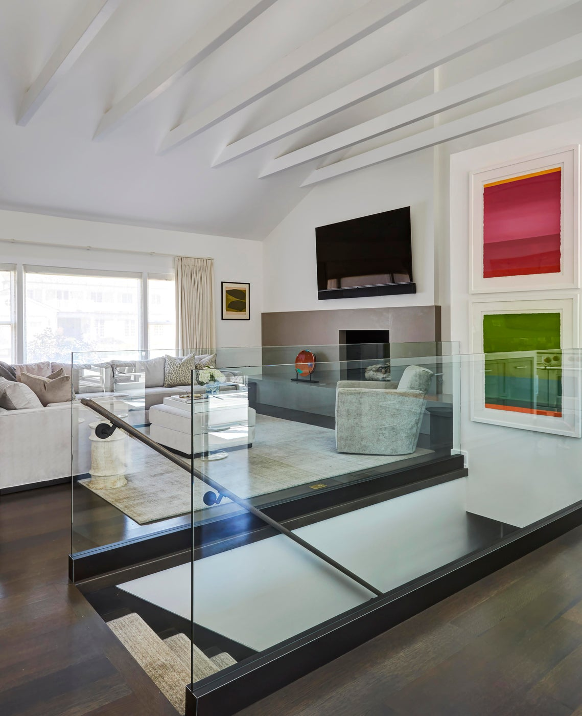 White Modern Kitchen Gut Rehab in Wilmette, IL, living room and stairwell
