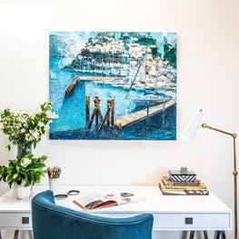 Desk with mediterranean artwork